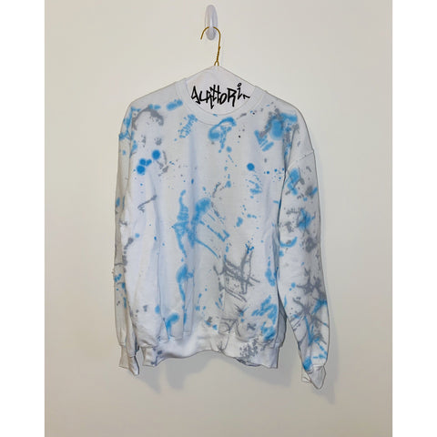 White Sweatshirt with Bright Blue and Grey Splatter Paint