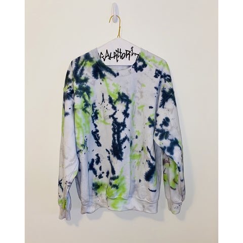 White Sweatshirt with Green and Black Splatter Paint