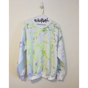 White Sweatshirt with Green and Grey Splatter Paint