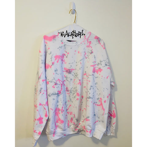 White Sweatshirt with Pink and Grey Splatter Paint