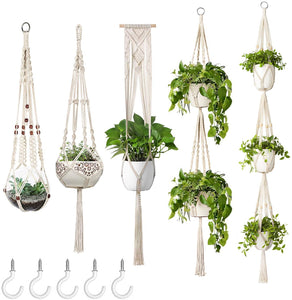 🔥Free shipping over $40🔥5-Pack Plant Hangers with 5-Hooks, Different Tiers, Handmade Cotton Rope