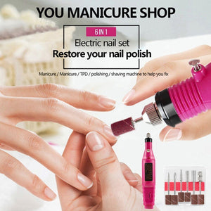 Portable Electric Nail Polisher [Six Polish Head Set]