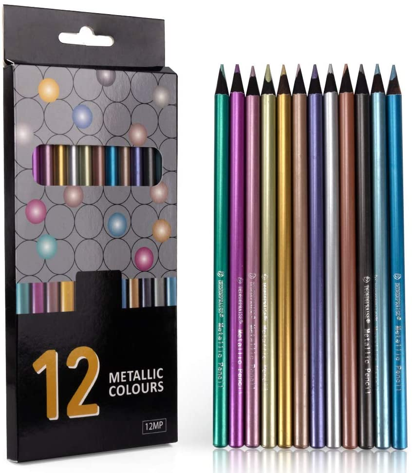 🔥Free Shipping Over $40🔥12/18/24/36 Color Metallic Color Pencils