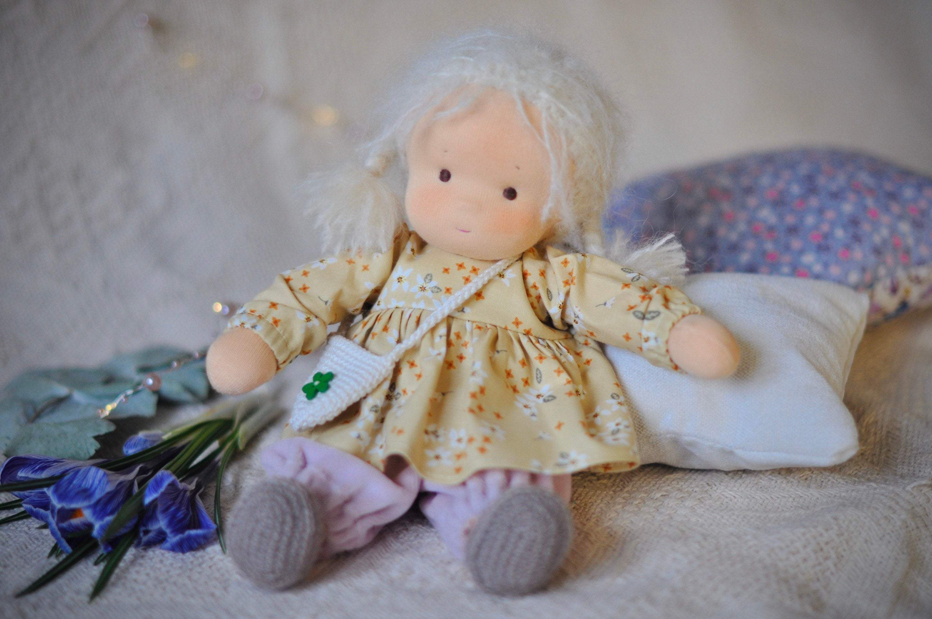 Textile Waldorf doll baby Dandelion MADE TO ORDER Вirthday gift / doll with clothes