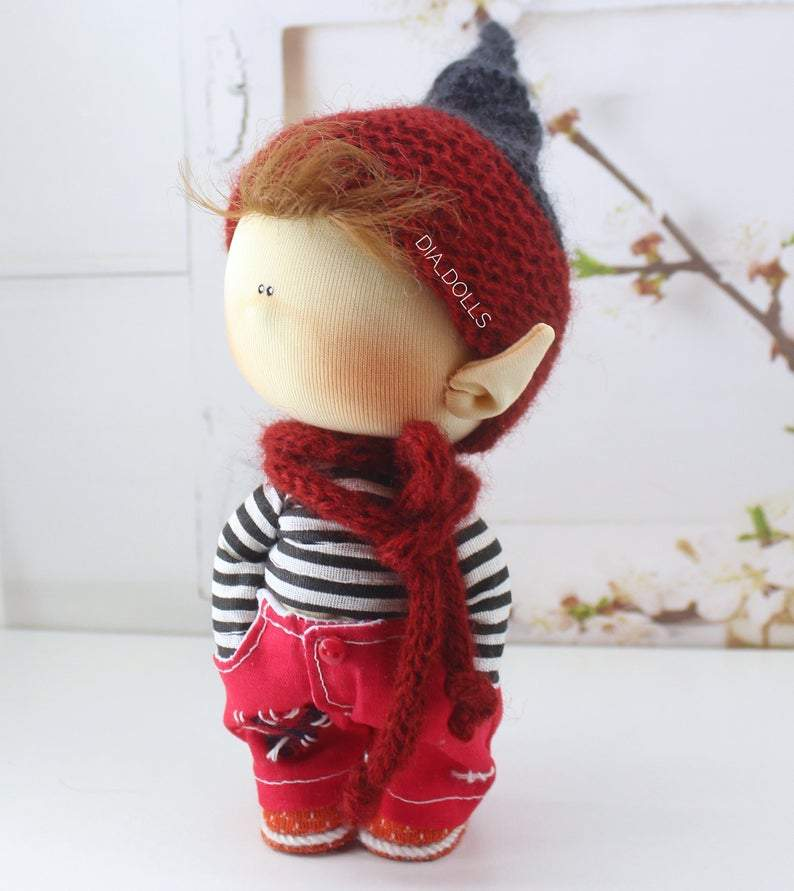Fairytale textile doll, miniature waldorf gnome, interior toy, handmade elf, rag dol, Soft sculpture tilda, homemade art doll, ooak waldorf