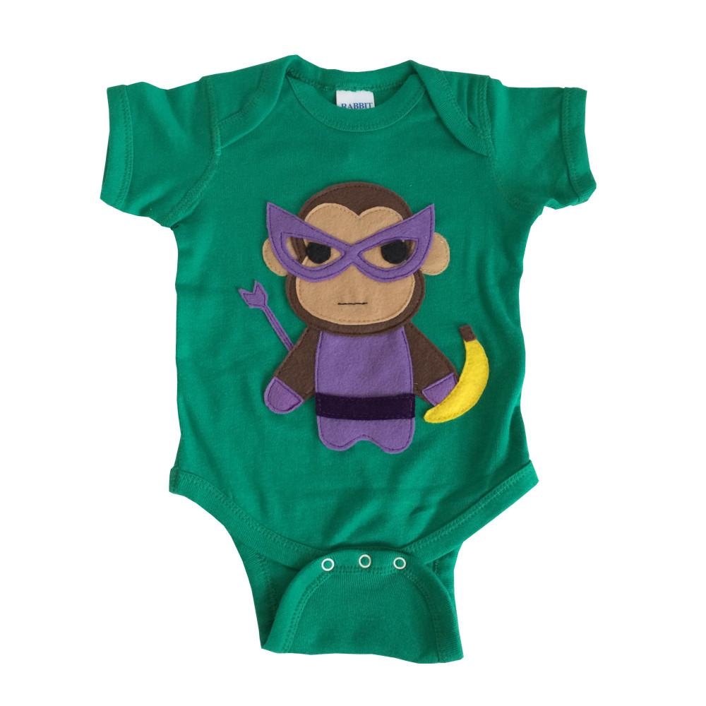 Super Hero Onesie -Team Super Animals - Monkey - Baby Blue Product