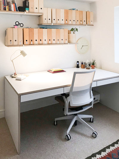 Custom Plywood Desk with Drawers