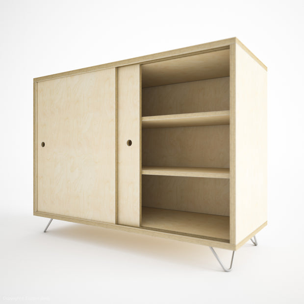 Custom Plywood Box Storage with Sliding Doors - Custom Desk
