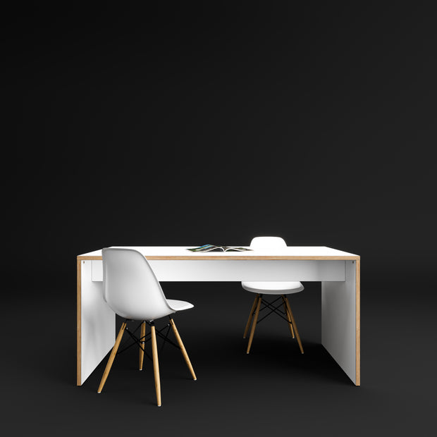 Custom Plywood Table with Solid Sides - Custom Desk