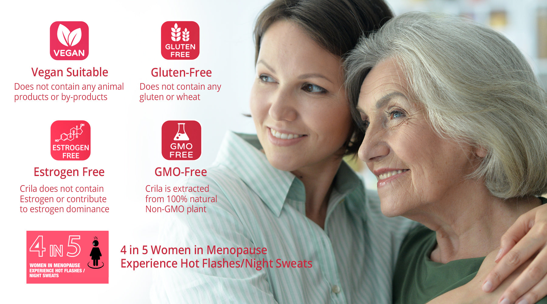 Estrogen Free Vegan Gluten-Free | menopause natural remedies |How to stop hot flashes fast  Free us shipping | www.crilahealth.com