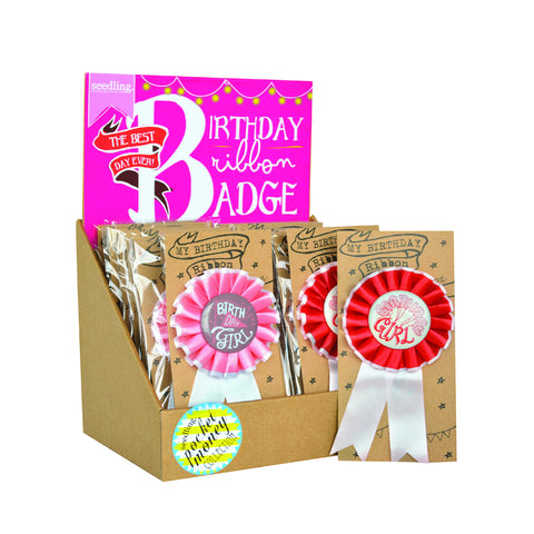 Birthday Ribbon Badge – Girl – The Best Day Ever ( Set of 24 )