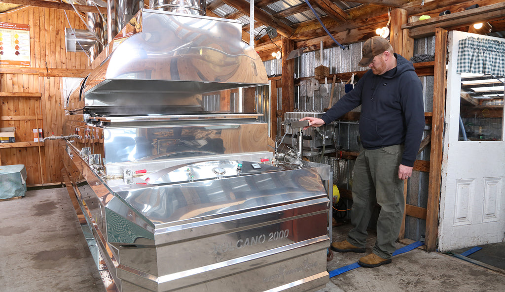 The sup is then transferred through a reverse osmosis machine which takes all the water out of the sap before it is then boiled down in a state of the ark evaporator. The sugar bush is open during the sap season.