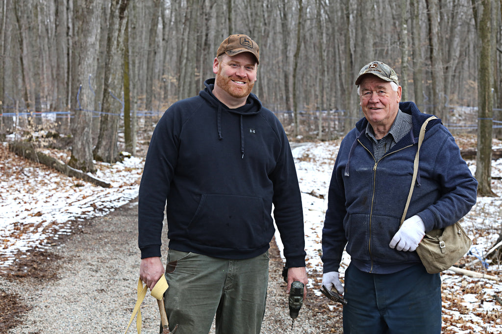 Today the sugar bush is run by Stephen Palmateer and his dad Larry. They have about 5000 taps to date, all connected using modern technology which includes four  seasons pipe line and vacuum pumps.