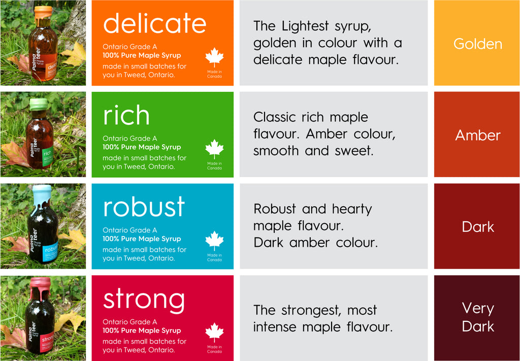 Our maple syrup is colour classified as Delicate (Golden), Rich (Amber), Robust (Dark) and Strong (Very Dark).