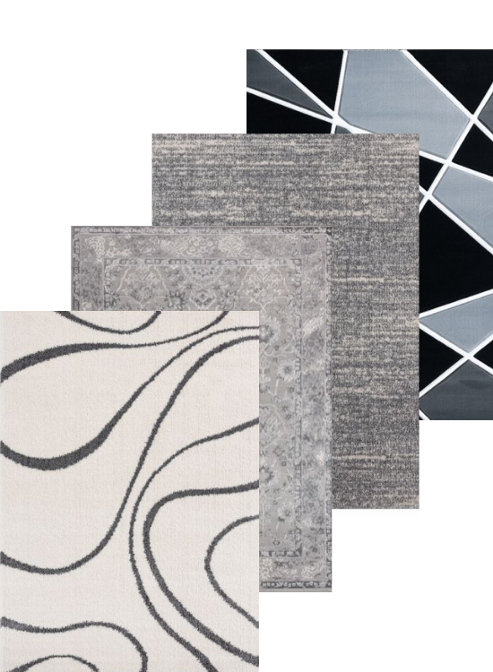 Gray Area Rug and Black Rug Collection Display | Rugs For Sale Outlet