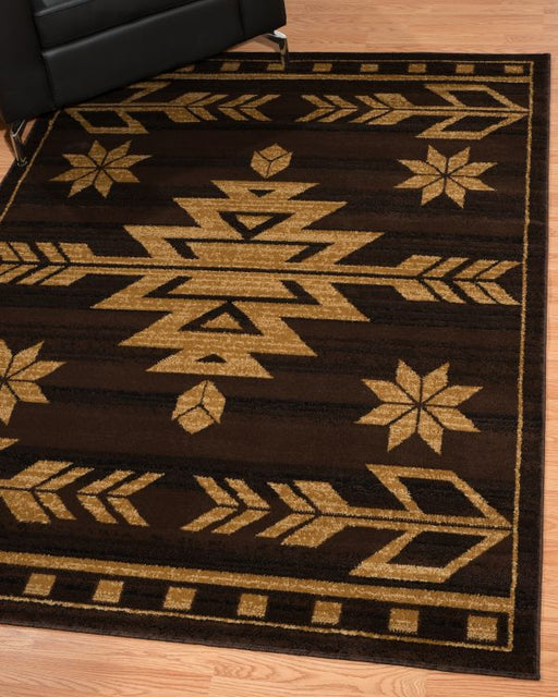 Aztec Coffee Rug Room View | Rugs For Sale Outlet