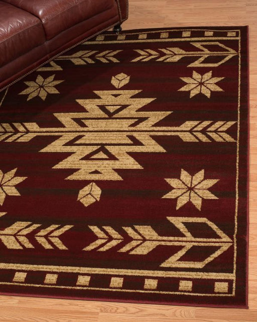 Aztec Mahogany Rug Edge View | Rugs For Sale Outlet