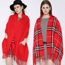 Load image into Gallery viewer, Plaid Shawl Wrap With Pockets