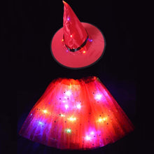 Load image into Gallery viewer, Light witch hat led glow skirt  Halloween dresses