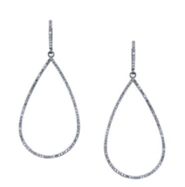Diamond Open Teardrop Earrings