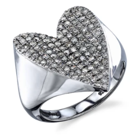 Folded Heart Pave Diamond Ring