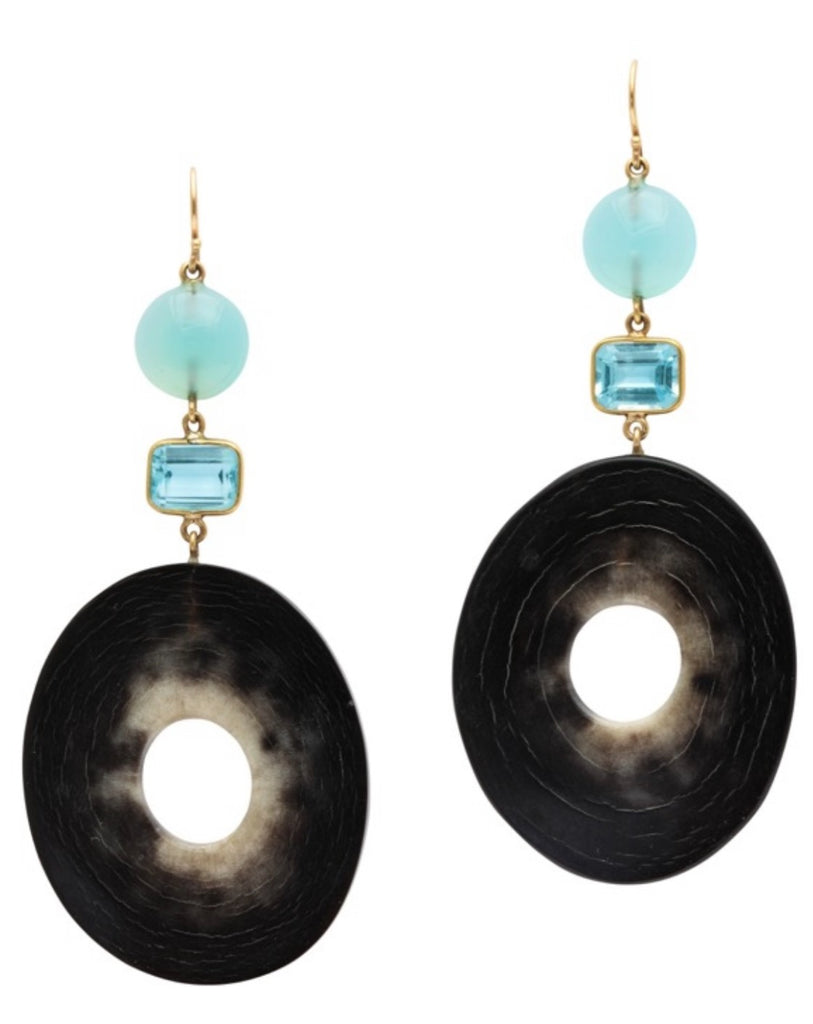Polished horn disc earrings topped with aquamarine