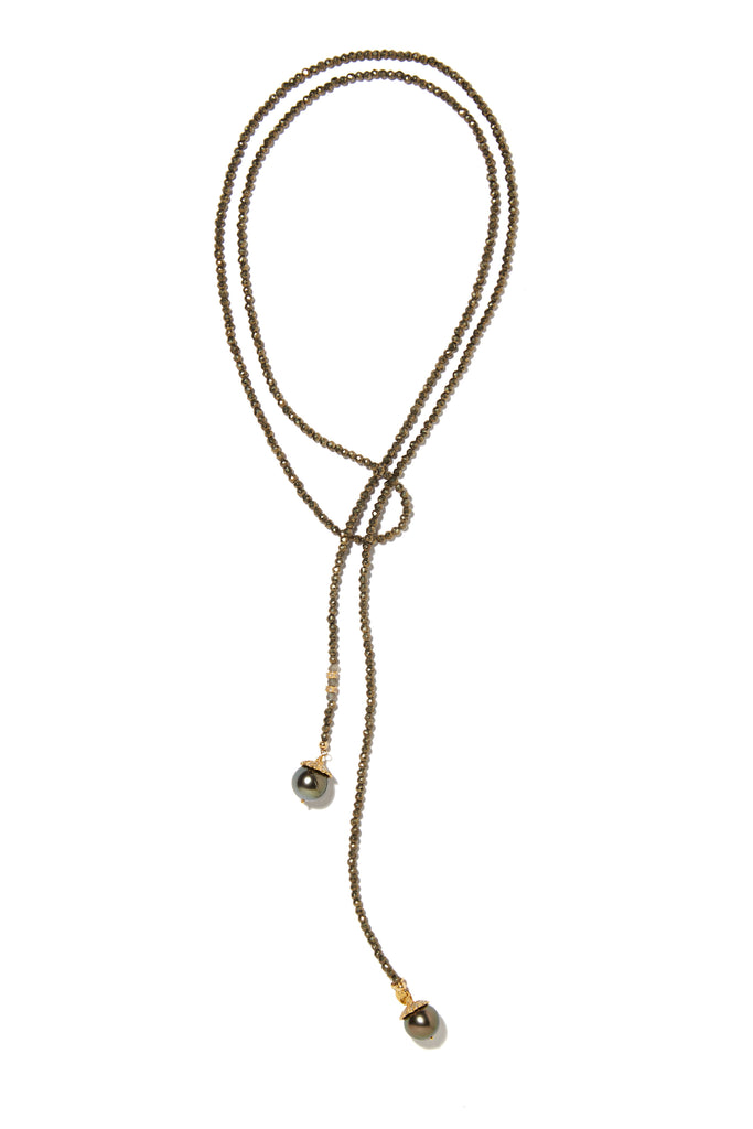 Pyrite and golden peacock Tahitian pearl classic lariat