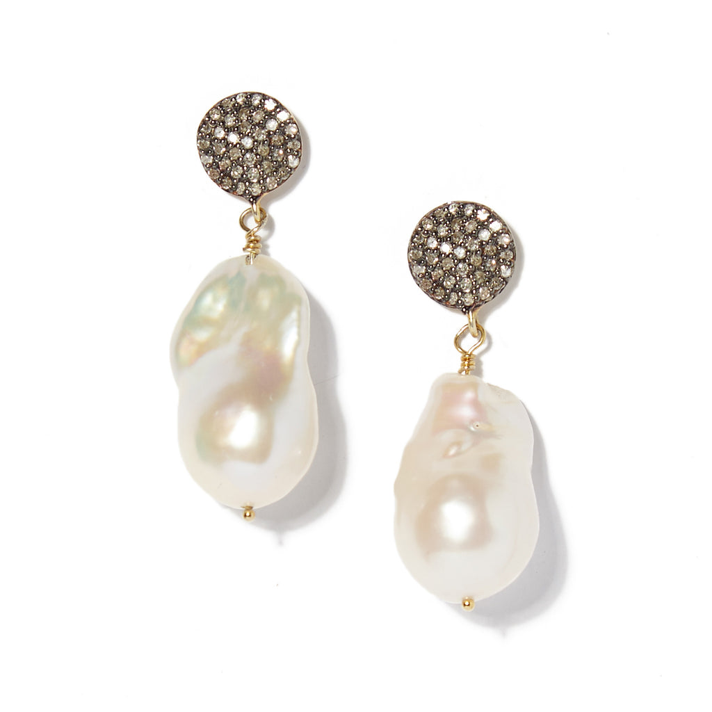 Diamond circle and baroque pearl earrings