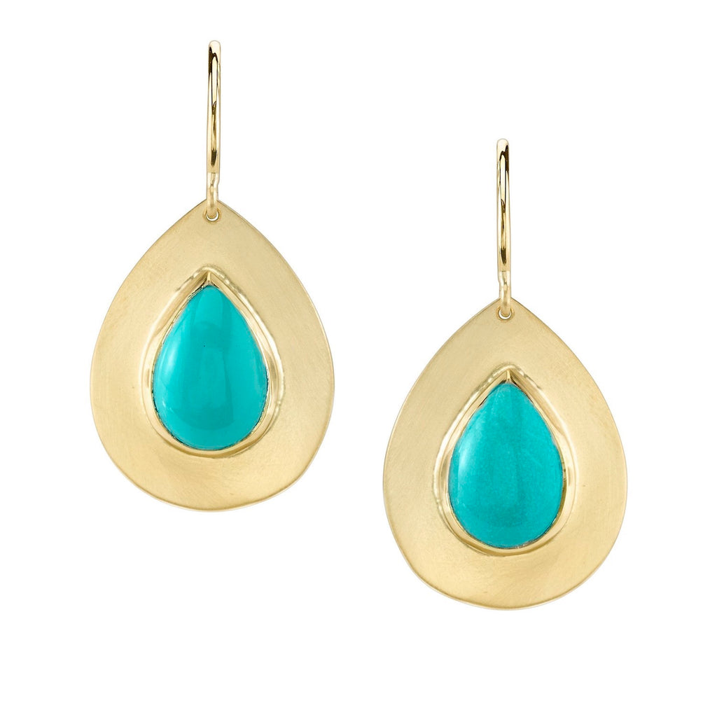 Flat Gold and Turquoise Earrings
