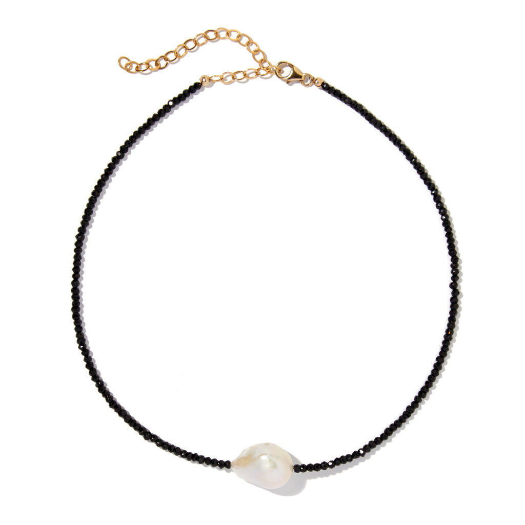 Spinel single baroque pearl gemstone necklace