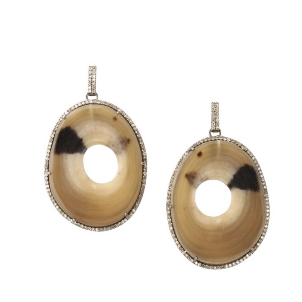 Polished two tone disc horn and pave diamond earrings