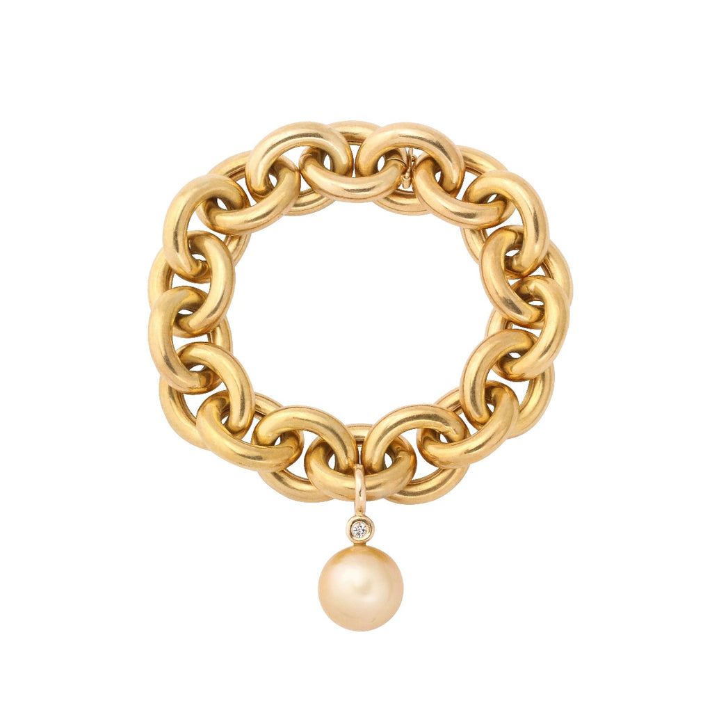 Italian polished gold chunky link bracelet with golden pearl drop bracelet