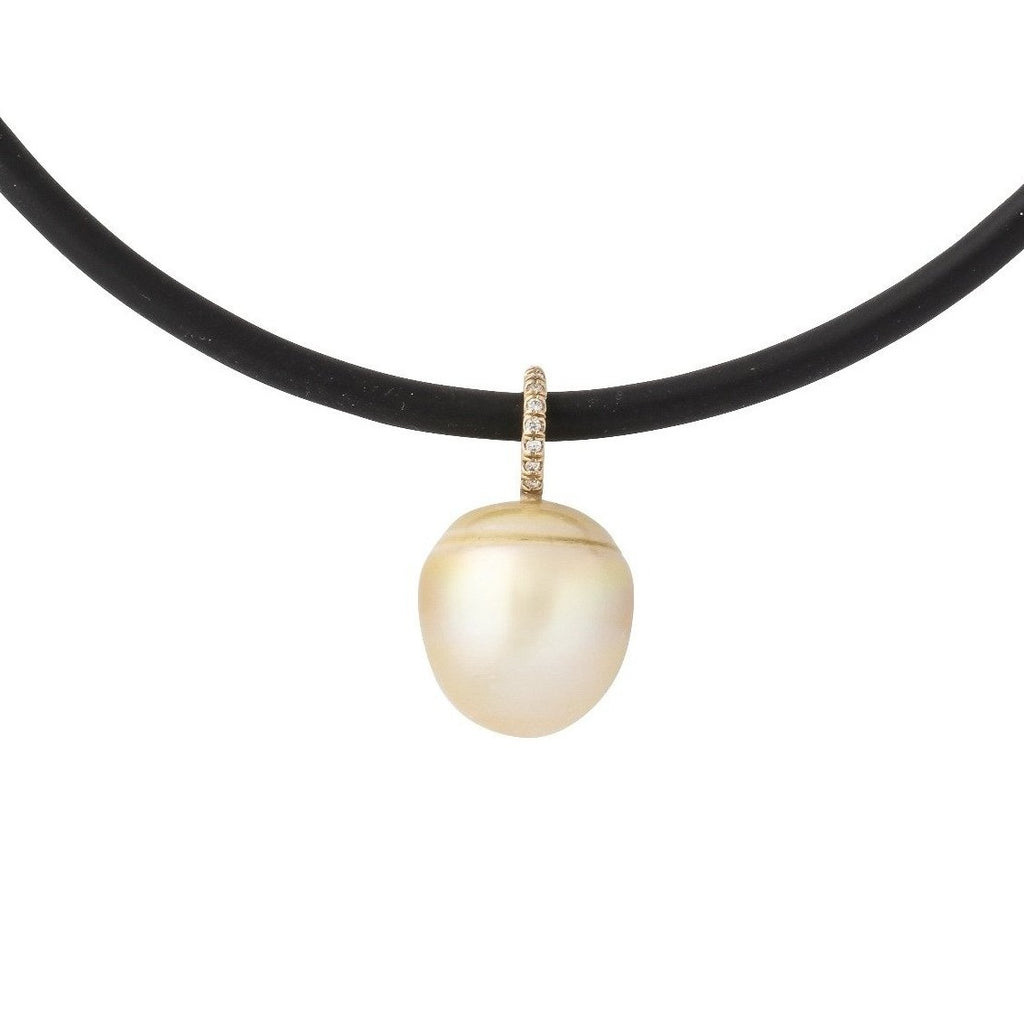 South Sea Pearl drop with pave diamond gold bail on waxed cotton cord