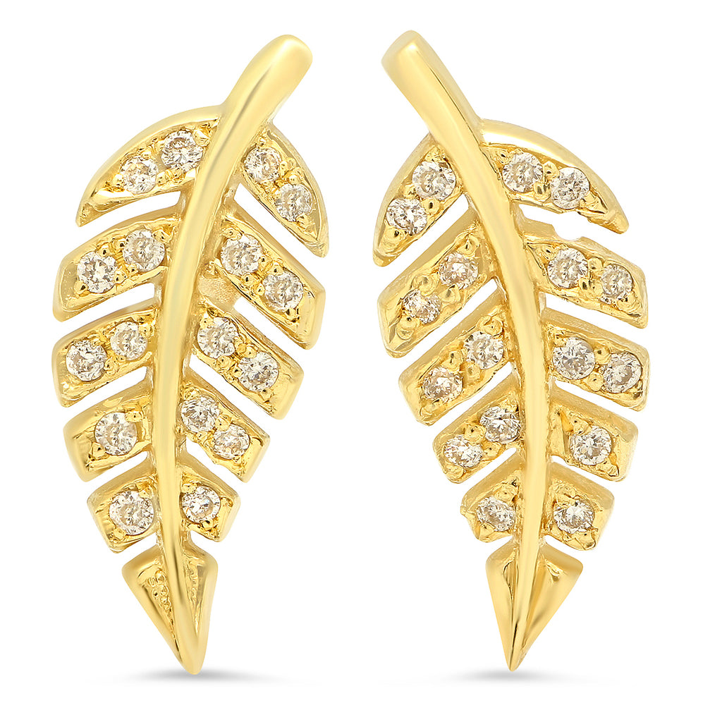 Mini Diamond Leaf Studs