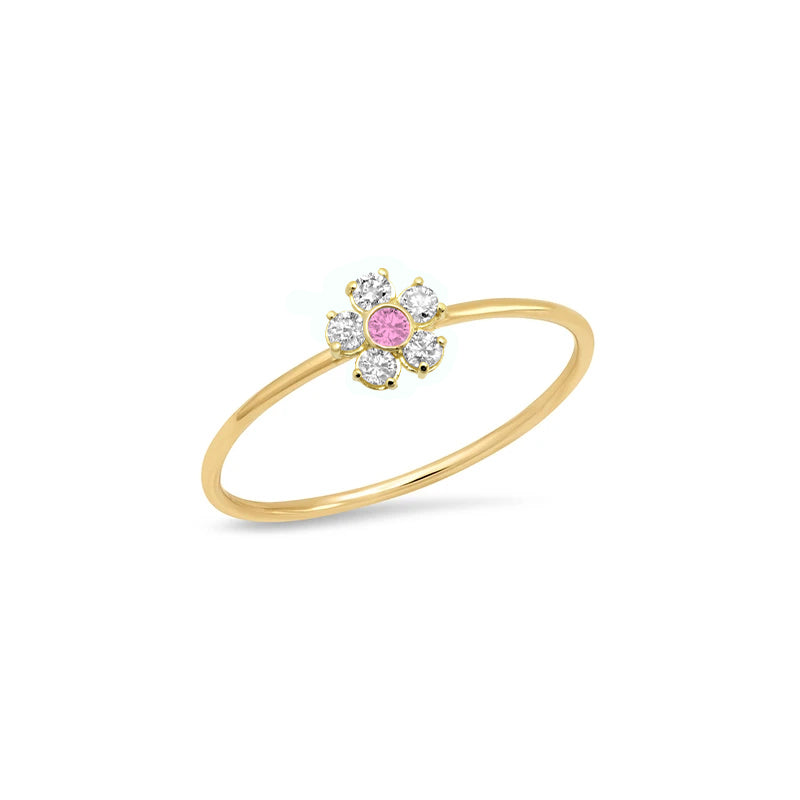 Diamond Flower Ring with Pink Sapphire Center