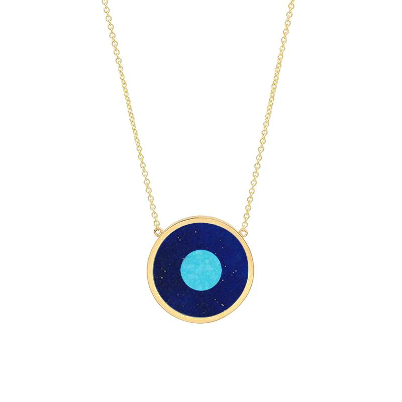 Lapis Inlay Evil Eye Necklace