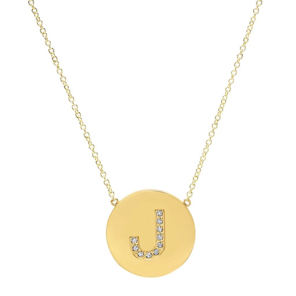 "Diamond letter Disc necklace ""J"""