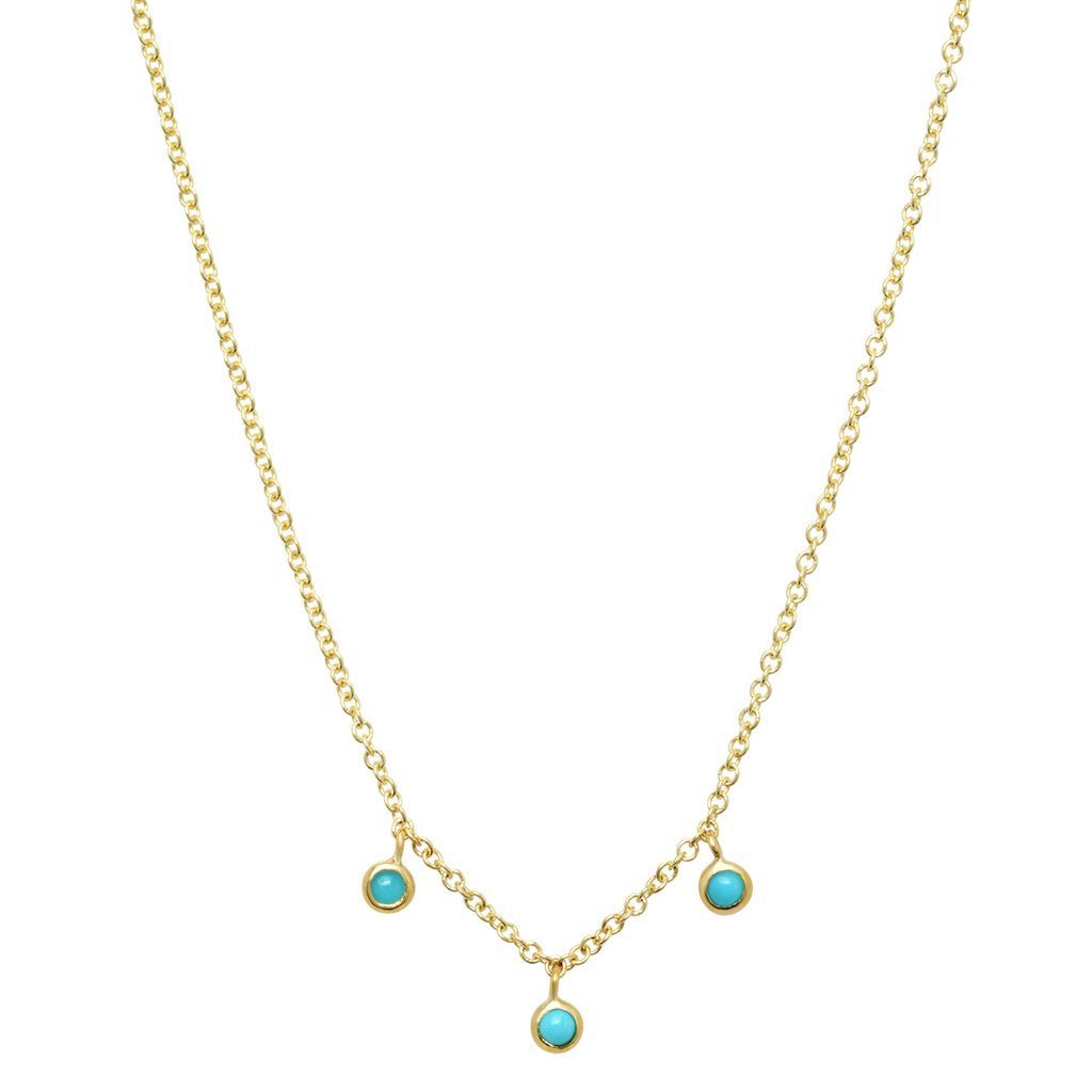Three turquoise mini bezel dangle necklace