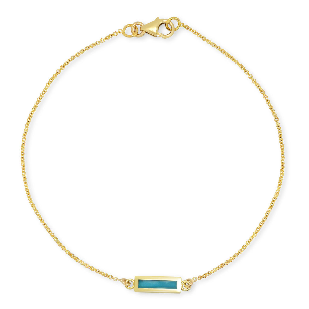 Turquoise inlay bar bracelet
