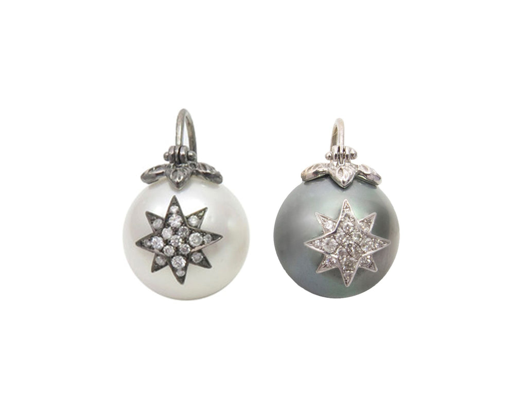 Flying Australian Tahitian Pearl with Pave Diamond Star Earrings