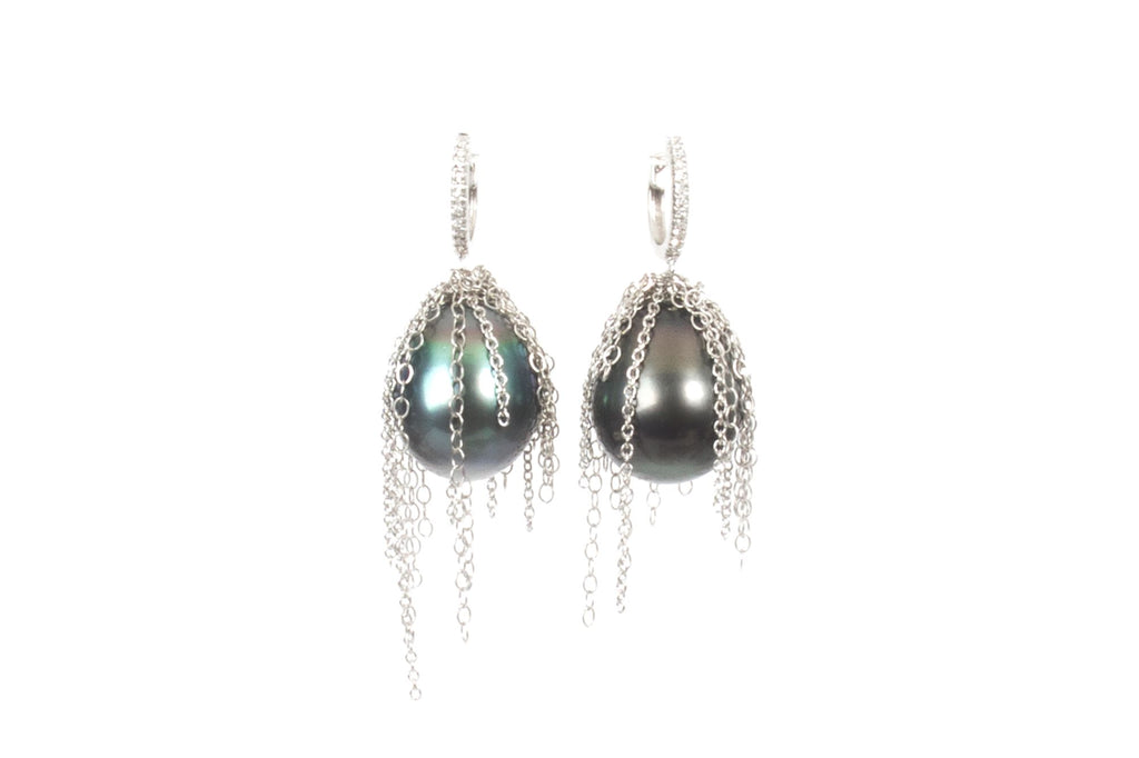 Small Diamond Huggie with Tahitian Pearl Fringe Earrings