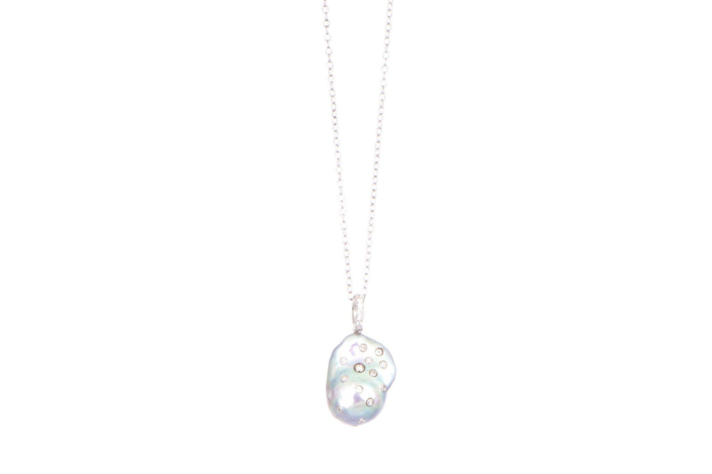 Baroque Fresh Water Pearl Diamond Bezel Pendant with link chain