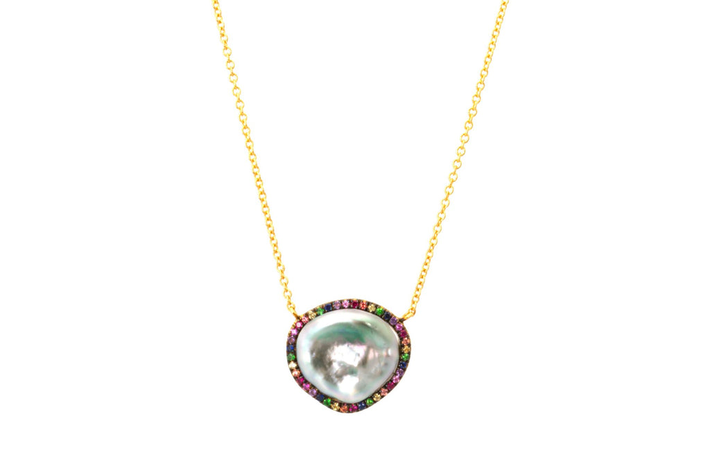 Tahitian Keshi Pearl and Rainbow Sapphire Halo Necklace