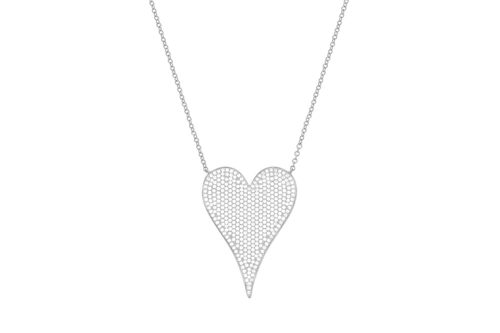 Pave Diamond Large Heart Necklace