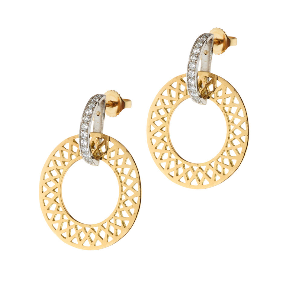 Crownwork Hoop Earrings with Diamonds