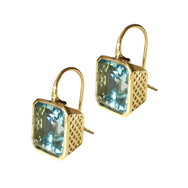 Emerald Cut Blue Topaz Earrings