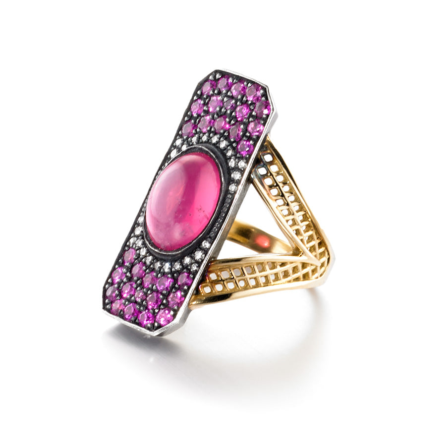 Pink Spinel Edwardian Ring
