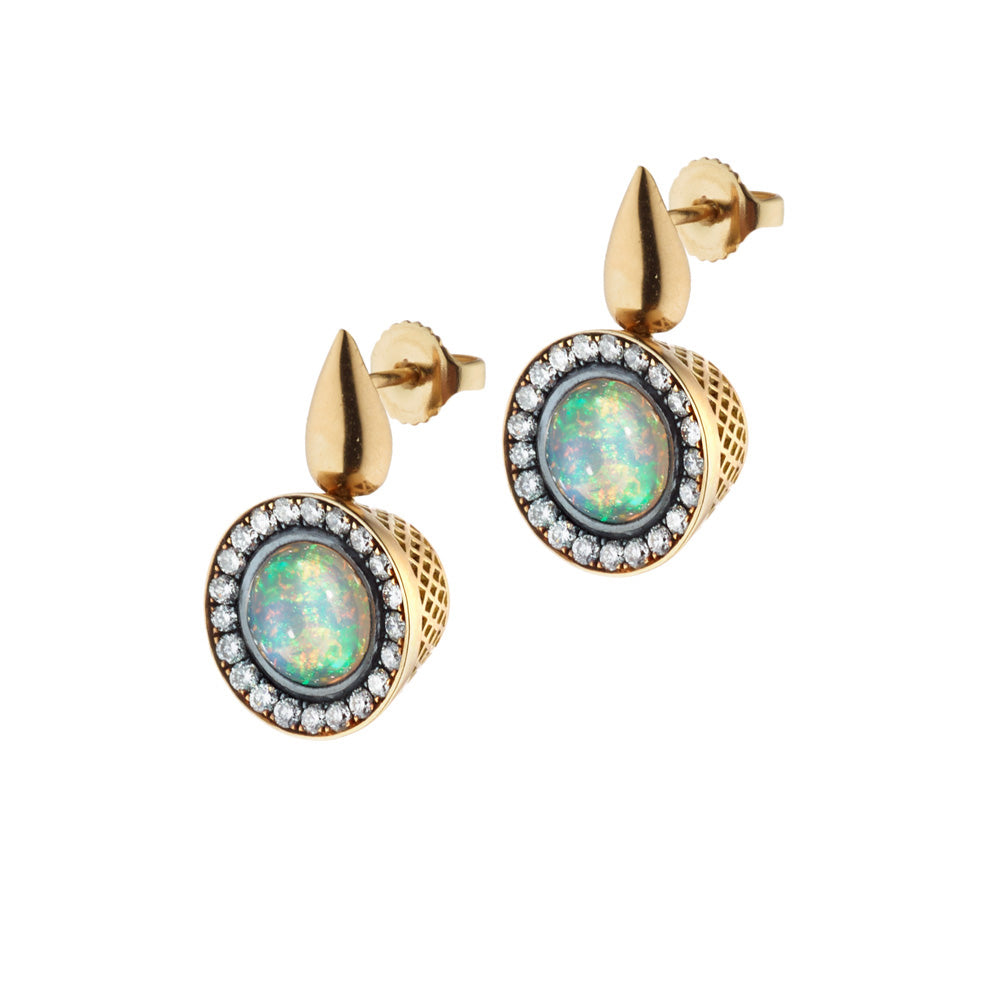 Cabochon Opal and Pave Diamond Earrings