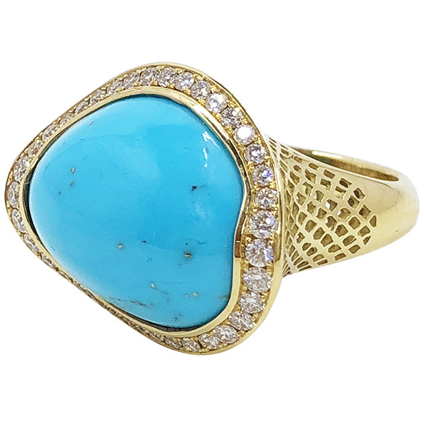 Asymmetric Sleeping Beauty Turquoise Ring