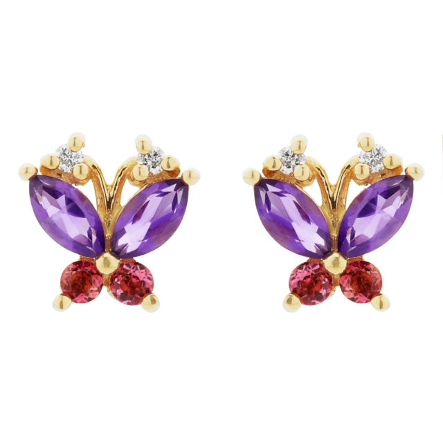 Volare pink tourmaline and amethyst butterfly studs